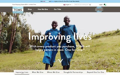 Screenshot of Home Page toms.com - The One for One Company | TOMS - captured July 3, 2015