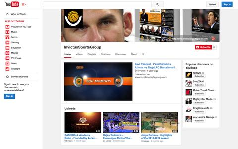 Screenshot of YouTube Page youtube.com - InvictusSportsGroup  - YouTube - captured Oct. 25, 2014