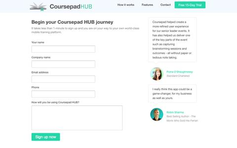 Screenshot of Trial Page coursepad.com - Coursepad HUB - Your mobile collaborative learning hub. - captured Sept. 30, 2014