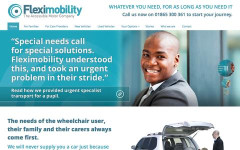 Screenshot of Home Page fleximobility.co.uk - Fleximobility | The Accessible Motor Company - captured Jan. 23, 2015