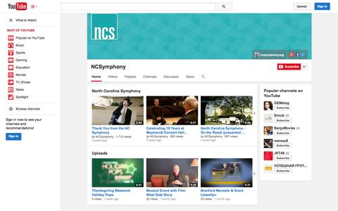 Screenshot of YouTube Page youtube.com - NCSymphony  - YouTube - captured Oct. 26, 2014