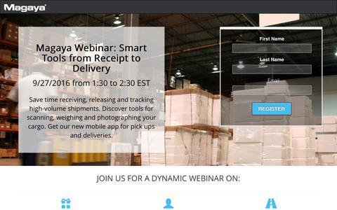 Screenshot of Landing Page magaya.com - Magaya Webinar - captured Dec. 3, 2016