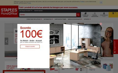 Screenshot of Home Page staples.it - Cancelleria, Cartucce e Toner, Mobili per Ufficio | Staples® - captured Jan. 12, 2018