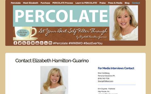 Screenshot of Contact Page percolatebook.com - Contact Elizabeth Hamilton-Guarino - captured March 5, 2016