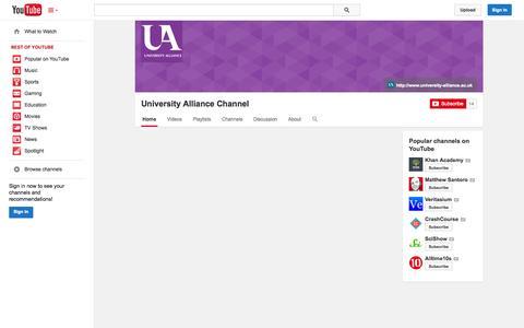 Screenshot of YouTube Page youtube.com - University Alliance Channel  - YouTube - captured Nov. 3, 2014