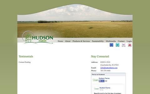 Screenshot of Testimonials Page hudsonfarms.com - Testimonials - Hudson Farms - captured Sept. 30, 2014
