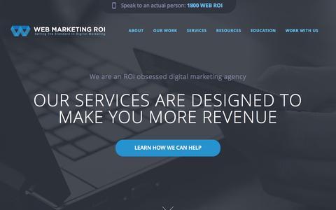 Screenshot of Home Page webmarketingroi.com.au - Web Marketing ROI - Digital Marketing Agency - captured Sept. 30, 2014
