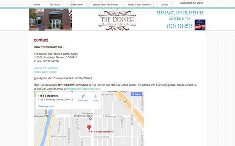 Screenshot of Contact Page thedenvertearoom.com - Contact The Denver Tea Room-Denver CO (303) 321-2236 - captured Dec. 14, 2016