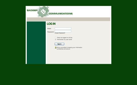Screenshot of Login Page badgercommunications.com - Login - captured Nov. 22, 2016