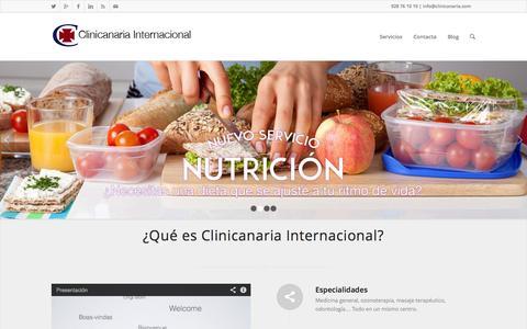 Screenshot of Home Page clinicanaria.com - Inicio - Clinicanaria Internacional - captured Oct. 2, 2014