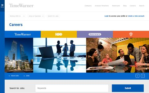 Screenshot of Jobs Page timewarner.com - Careers | Time Warner Inc. - captured Oct. 2, 2015