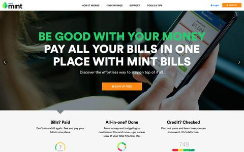 Screenshot of Home Page mint.com - Mint: Money, Bill Pay, Credit Score & Investing - captured Jan. 15, 2015