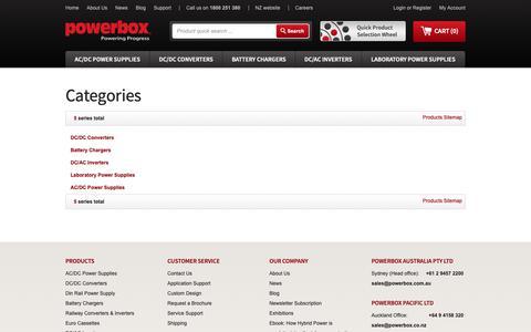 Screenshot of Site Map Page powerbox.com.au - Site Map - captured Sept. 29, 2018