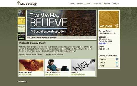 Screenshot of Home Page crosswayma.org - Welcome to Crossway Church - Crossway Church - captured Oct. 3, 2014
