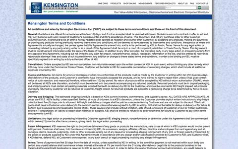 Screenshot of Terms Page keiconn.com - Kensington Electronics, specializing in Hypertronics - Terms & Conditions - captured Oct. 6, 2014