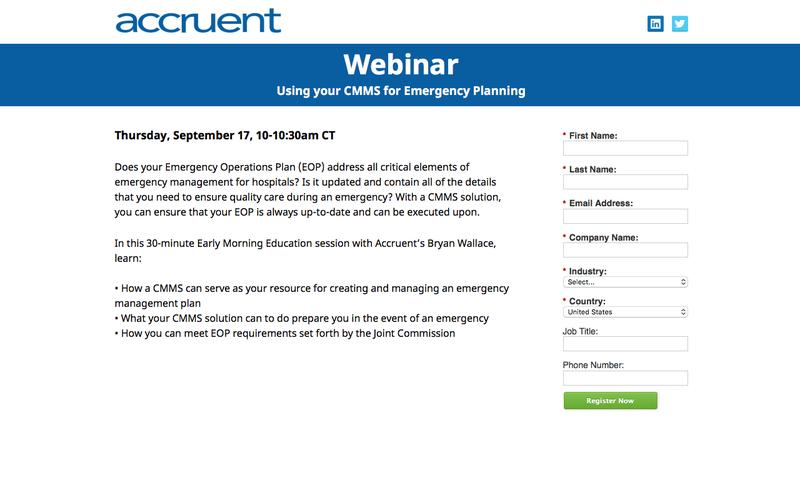 Webinar Registration | Using your CMMS for Emergency Planning
