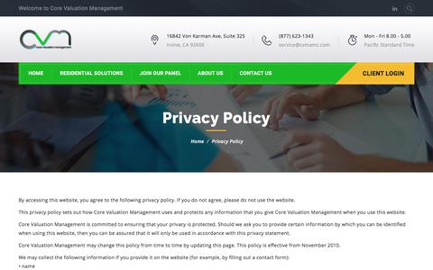 Screenshot of Privacy Page cvmamc.com - Privacy Policy – Core Valuation Management - captured Aug. 31, 2017