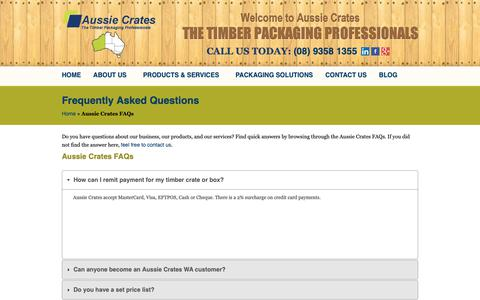 Screenshot of FAQ Page aussiecrates.com.au - Frequently Asked Questions | Aussie Crates Perth - captured Oct. 4, 2018