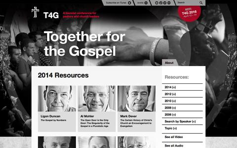 Screenshot of Home Page t4g.org - Together for the Gospel - captured Sept. 19, 2014