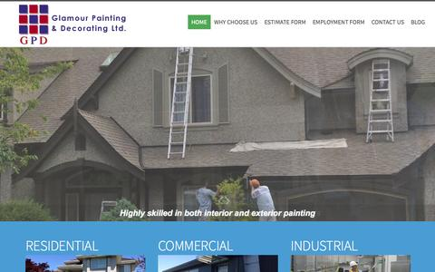 Screenshot of Home Page glamourpainting.com - Vancouver House Painters & Painting Contractors - Glamour Painting - captured Sept. 19, 2015