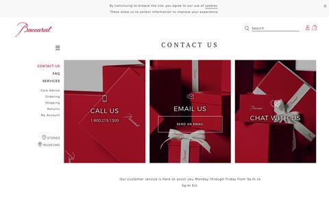 Screenshot of Contact Page baccarat.com - Contact us - Baccarat - captured July 13, 2018