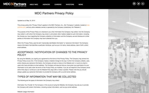 Screenshot of Home Page Privacy Page mdc-partners.com - MDC Partners | Strategic & Creative Marketing Agencies - captured Dec. 4, 2015