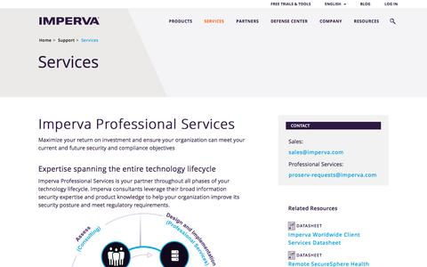Screenshot of Services Page Team Page imperva.com - Professional Services for Your Entire Technology Lifecycle - captured July 22, 2017