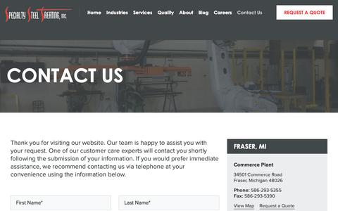 Screenshot of Contact Page sst.net - Contact Us For A Steel Heat Treating Quote - Specialty Steel Treating - captured Oct. 19, 2018