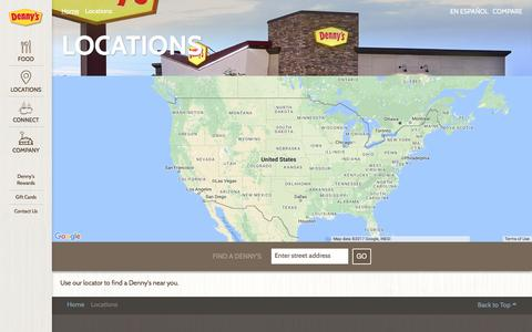 Screenshot of Locations Page dennys.com - Locations - Denny's - captured May 6, 2017