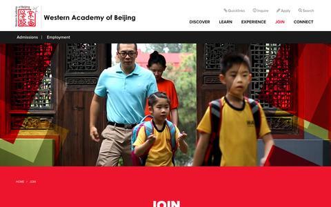 Screenshot of Signup Page wab.edu - Join - Western Academy of Beijing - captured Nov. 29, 2016