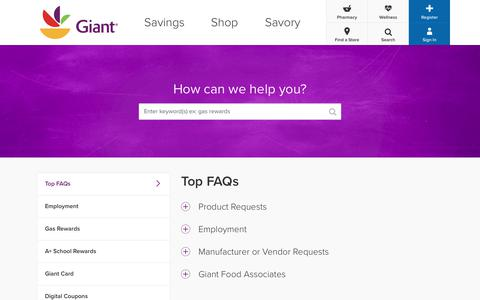 Screenshot of FAQ Page giantfood.com - GiantFood - captured Aug. 1, 2017