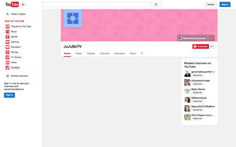 Screenshot of YouTube Page youtube.com - JuJuBeTV  - YouTube - captured Oct. 30, 2014