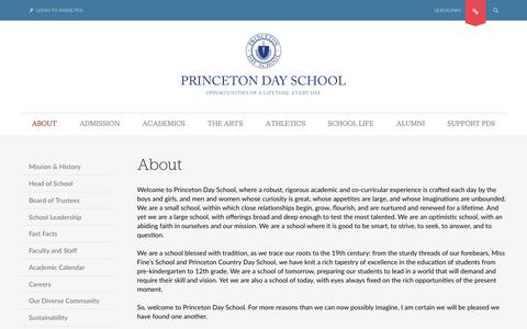 Screenshot of About Page pds.org - Princeton Day School - About - captured Sept. 29, 2018