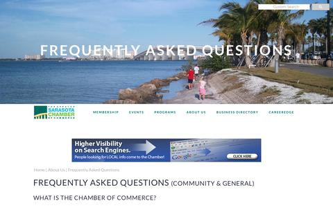 Screenshot of FAQ Page sarasotachamber.com - Chamber FAQs | Greater Sarasota Chamber of Commerce - captured Nov. 11, 2018