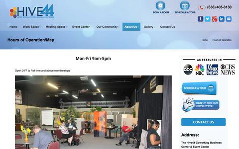 Screenshot of Hours Page thehive44.com - Hours of Operation - TheHive44 Coworking Space St Louis - captured Sept. 26, 2018