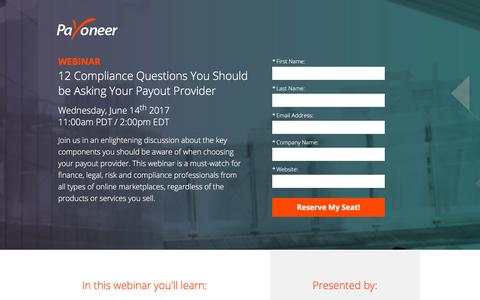 Screenshot of Landing Page payoneer.com - Payoneer | 12 Compliance Questions to ask Your Payout Provider - captured Sept. 18, 2018