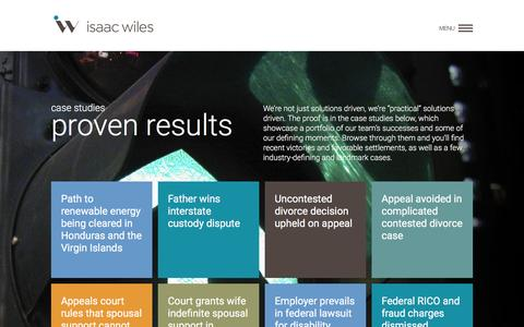 Screenshot of Case Studies Page isaacwiles.com - case studies <proven results> |  Home - Isaac Wiles - Built from a carefully crafted merger between Wiles, Boyle, Burkholder & Bringardner and Isaac, Brant, Ledman & Teetor, the new Isaac Wiles is designed to provide solutions for a wide variety of l - captured Nov. 26, 2016