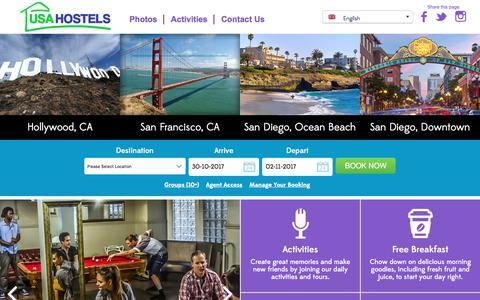 Screenshot of Home Page usahostels.com - San Francisco Hostels, Hollywood, San Diego & California Hostels - captured Oct. 31, 2017