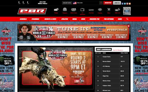 Screenshot of Home Page pbr.com - Professional Bull Riders - - captured Oct. 22, 2015