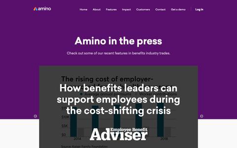 Screenshot of Press Page amino.com - Press   Amino - captured June 11, 2019