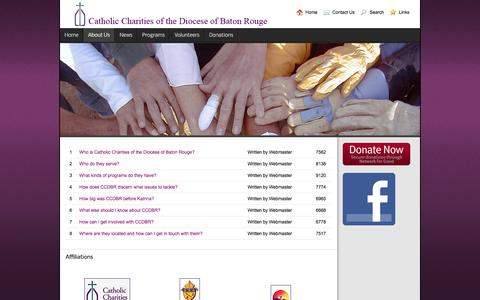 Screenshot of FAQ Page ccdiobr.org - Frequently Asked Questions - Catholic Charities of the Diocese of Baton Rouge - captured Jan. 26, 2016