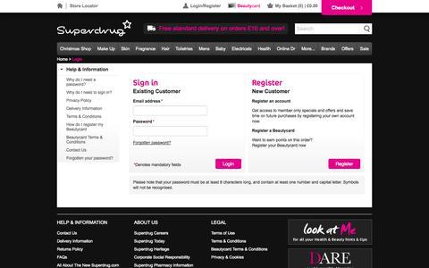 Screenshot of Login Page superdrug.com - Superdrug Site - captured Oct. 29, 2014