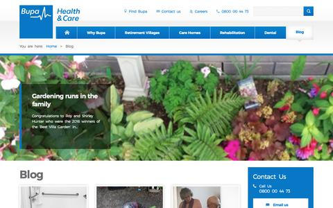 Screenshot of Blog bupa.co.nz - Health and Care Blog   Rest Home and Retirement Living   Bupa NZ - captured Nov. 13, 2018