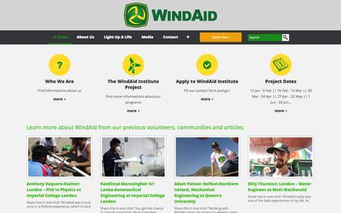 Screenshot of Home Page windaid.org - WindAid Institute | Volunteer WindAid – Volunteer in Peru – Build a wind turbine – Work on environmental and sustainable volunteer projects – Help combat climate change in South America - captured Jan. 22, 2015