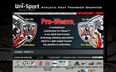 Screenshot of Menu Page uni-sport.com - Licensed Products | Uni-Sport - captured Feb. 17, 2016