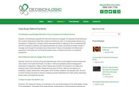 Screenshot of Case Studies Page decision-logic.com - Case Study Table of Contents | Decision Logic - captured Oct. 5, 2014