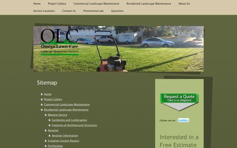 Screenshot of Site Map Page omegalawncare.com - Main Home Page/ City of Riverside - City of Corona - Landscape Services in City of Riverside, California. Landscape,Lawn Care - Lawn Service - Landscape Maintenance - Landscape - Mowing - Mow - captured Dec. 17, 2016