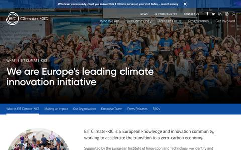 Screenshot of About Page climate-kic.org - What is EIT Climate-KIC? - Climate-KIC - captured Nov. 5, 2018