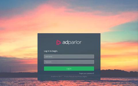 Screenshot of Login Page adparlor.com - AdParlor - captured June 30, 2017