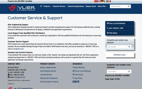 Screenshot of Support Page vlier.com - Vlier Customer Service and Support - captured Sept. 21, 2018